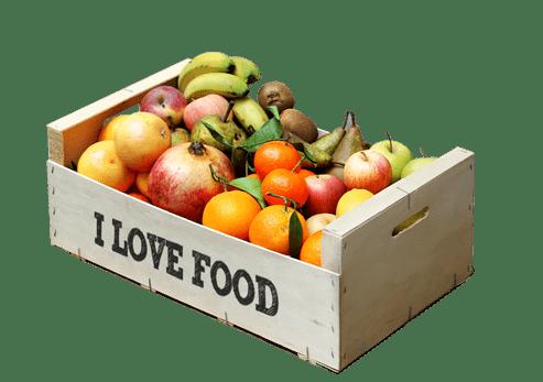 Caja ecol gica s lo fruta i love food - Caja de frutas de madera ...