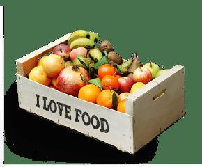 caixa / cistella de fruites ecològiques: pomes, plàtans, taronges, peres, kiwi, meló, síndria, maduixes, cireres, prunes... Tot ecològic!