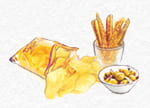 patates, xips, olives