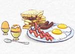huevos, carne, bacon, salchichas
